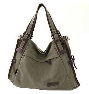 TianHengYi Vintage Women s Canvas Leather Hobo Tote Shoulder Bag Top-handle  Handbag Cross Body Purse 80bbb9a0d3