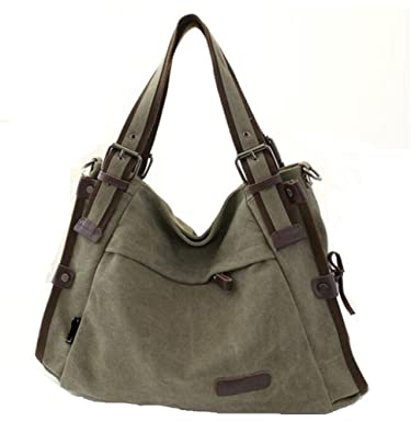 4b7fdc24db1 TianHengYi Vintage Women's Canvas Leather Hobo Tote Shoulder Bag Top-handle  Handbag Cross Body Purse