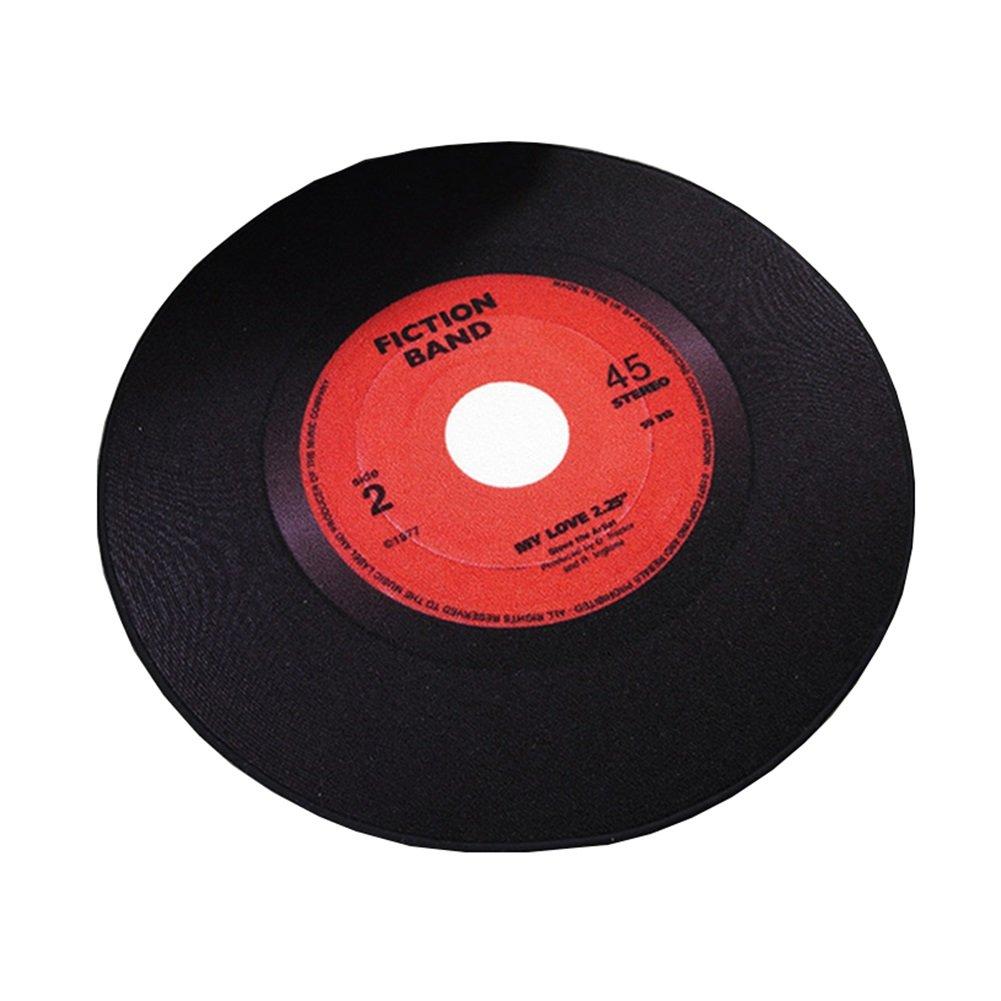 YIXINXI Teppich YX-005 Hochwertiges Polyester Retro Kreativ Vinyl-Schallplatte Runde Rutschfest Matten 3 Farben, 2 Größe Optional (Farbe   A, größe   Diameter-1.2M)