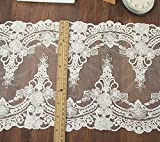 5 Yards Vintage Embroidered Lace Edge Trim Ribbon Wedding Applique DIY Sewing Craft,21CM Widths (K-5yards, White)