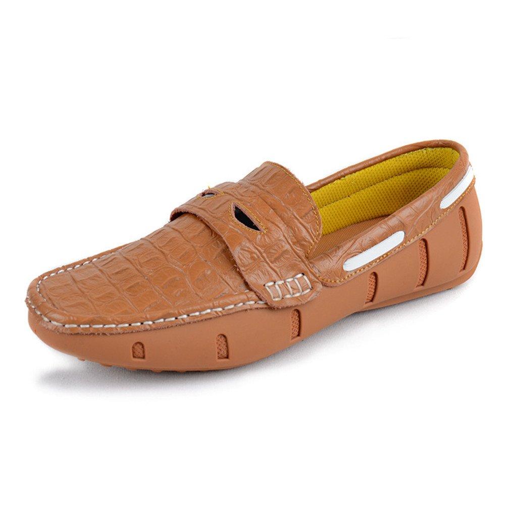 Zapatos de Cuero de otoño Zapatos Casuales de Cuero de cocodrilo de los Hombres 43 1/3 EU|Marrón