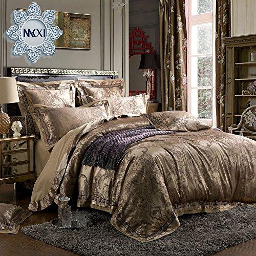 MKXI Gorgeous Paisley Bedding European Luxury Duvet Cover Set Sateen Cotton, Queen Set,3 Pieces