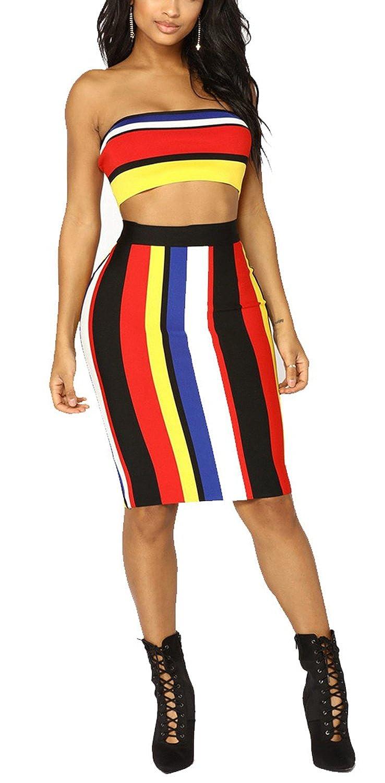9ea5fc724b Kearia Women Off Shoulder Colorful Stripe Two Piece Bodycon Dress Crop Top  Midi Skirt at Amazon Women's Clothing store: