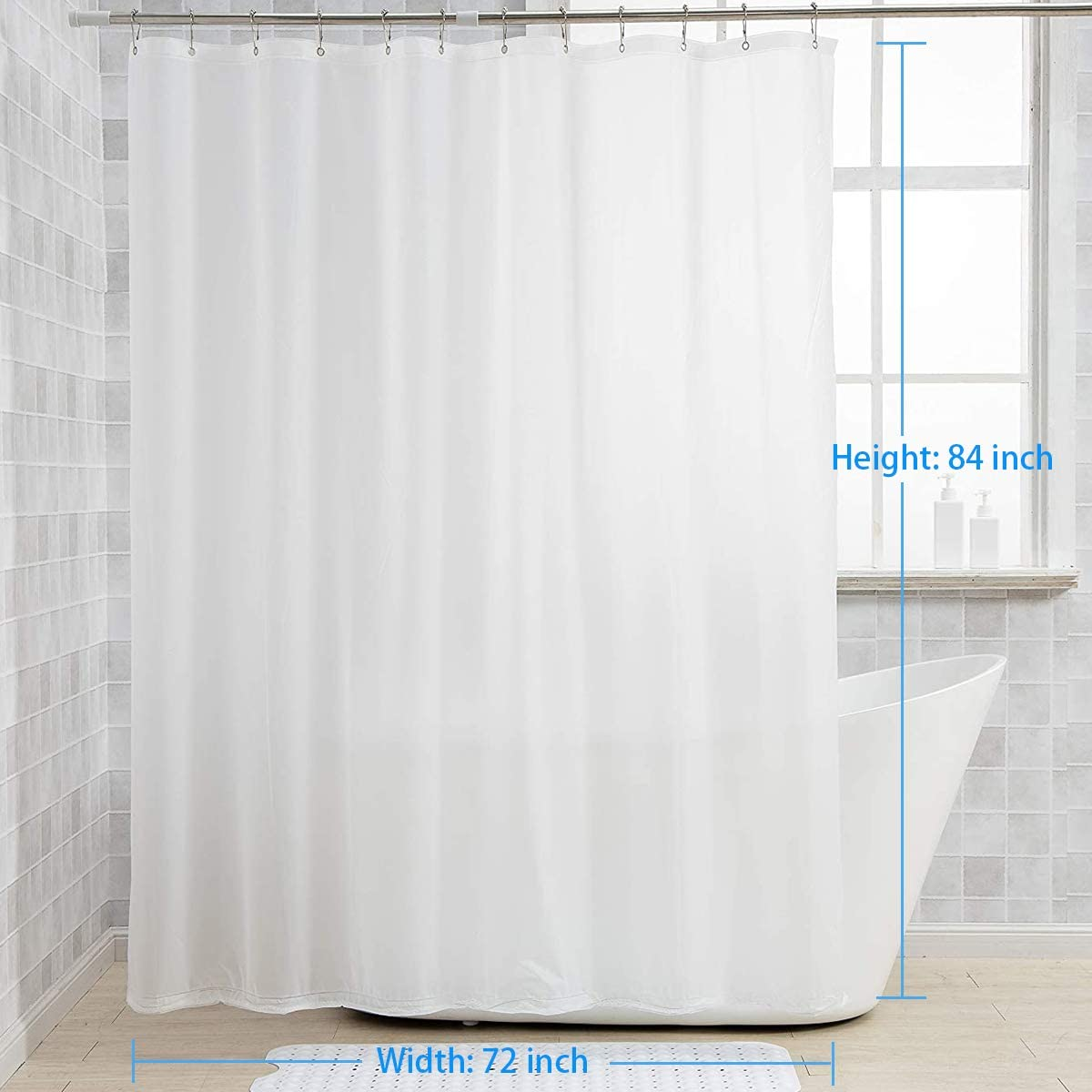 72 W x 65 H PEVA 3G Shower Curtains with Heavy Duty Beads and 12 Grommet Holes Clear Waterproof Plastic Liners AmazerBath 2 Pack Thin Shower Curtain Liners