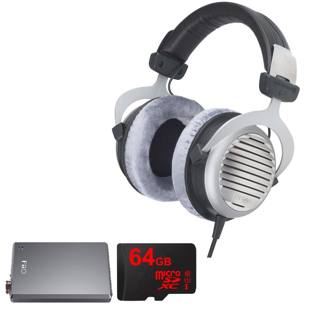 BeyerDynamic DT 990 Premium Headphones 600 OHM with Bundle Includes, FiiO E12 Mont Blanc Portable Headphone Amplifier & Lexar 64GB micro SD High-Performance Memory Card