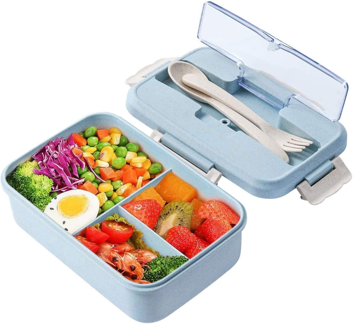 Lunch Box, 3 Compartment Sealed Bento Box and Cutlery Set Lunch Boxes for Kid Adult Work School, Suitable for Microwave and Dishwasher (Blue)