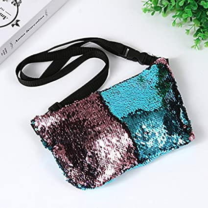 pink Rurah DIY Waist Bag Paillette Pocket Fashion Lady Women Purse Multi-purpose Storage Pruse Pack,Lake blue