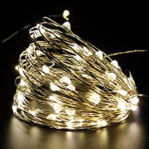 PMS Solar String Lights 143ft 400 LED Warm White Fairy Starry Lights Silver Colored Copper Wire for Garden, Wedding, Christmas, Party, Indoor and Outdoor Decoration. 8 Modes/Waterproof/USB Charge