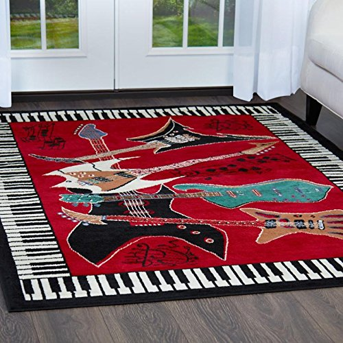 (Home Dynamix Zone 2776-200 Polypropylene Musical Guitar/ Piano Rug 5-Feet 2-Inch by 7-Feet 4-Inch Area Rug,)
