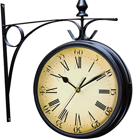 Outdoor Garden Wall Clock Double Sided Bracket Clock Garden Clock 21.8cm Dia.
