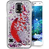 Galaxy S5 Cover Samsung Galaxy S5 Cover for Girls EMAXELER 3D Creative Design Angel Girl Flowing Liquid Floating Bling Shiny Liquid PC Hard Cover for Samsung Galaxy S5 Silver Red Feather
