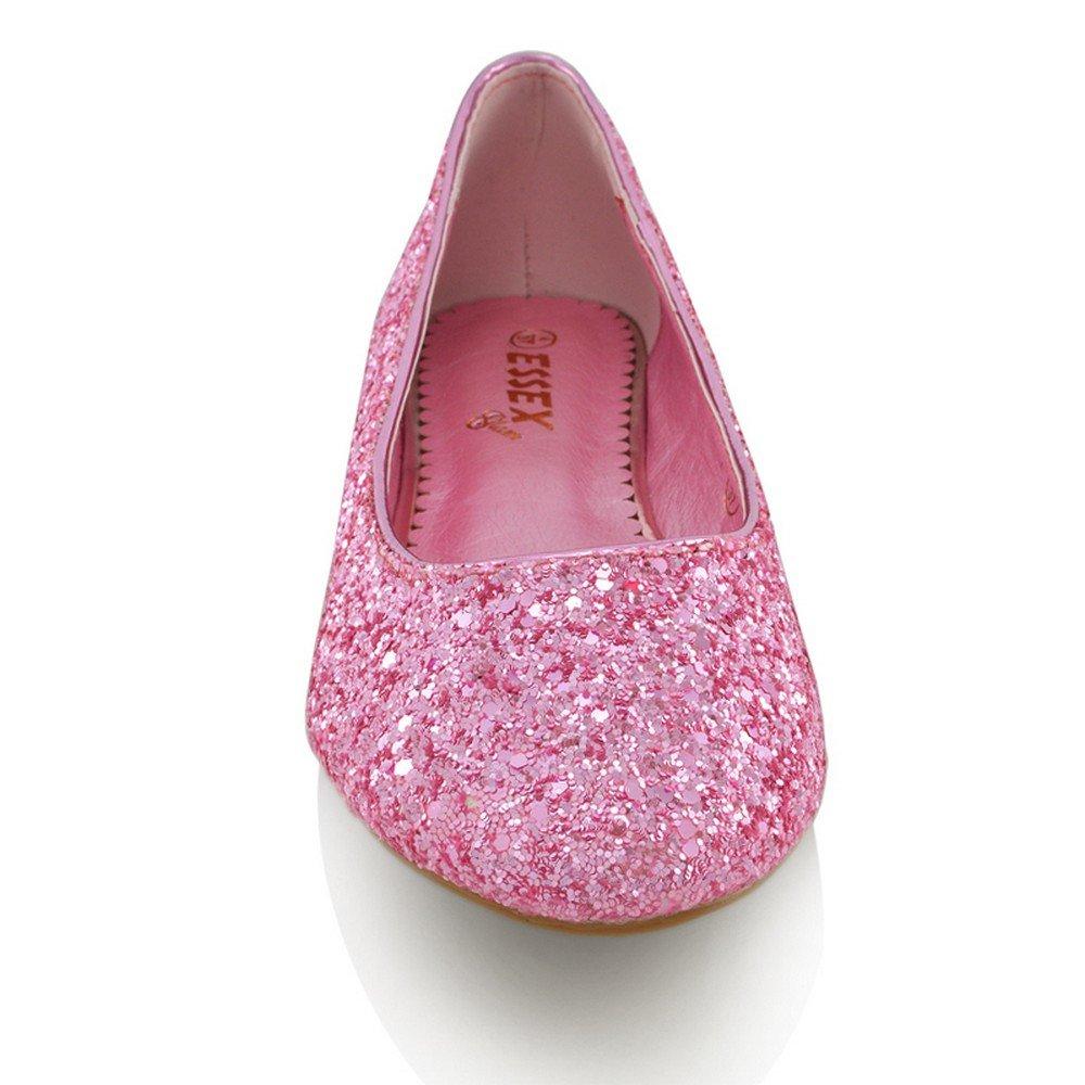 Womens Ladies Flat Ballet Glitter Bridal Bridesmaid Prom Dolly ...