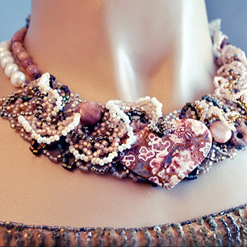 Crazy Lace Statement Necklace with Sunstone and Cultured Freshwater Pearls; Artisan Handmade