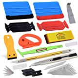 Vehicle Window Tint Film Install Vinyl Wrap Tool Kit includes Felt Squeegee, PPF Scraper, Safety Cutter, Air Release Pin…