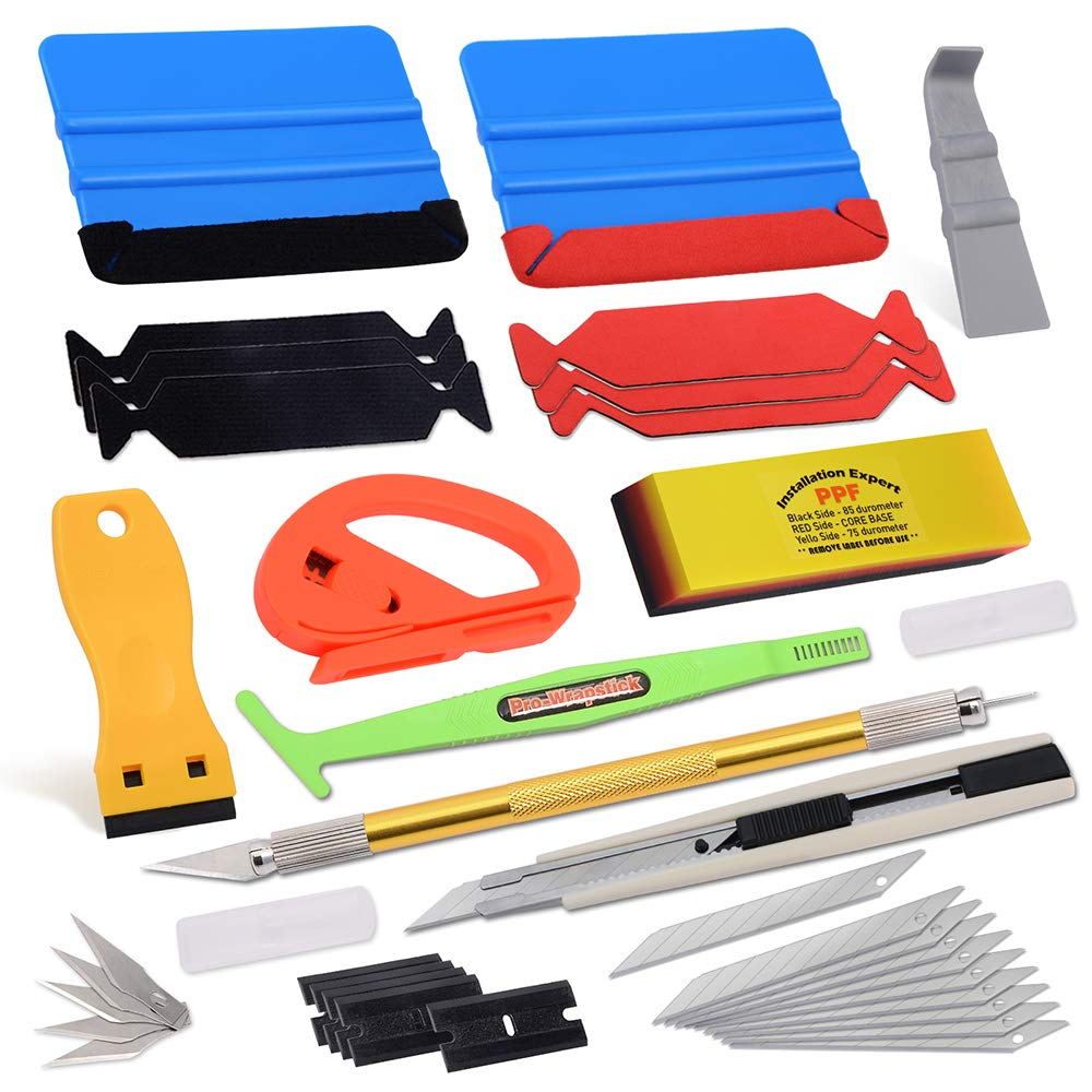Vehicle Window Tint Film Install Vinyl Wrap Tool Kit includes Felt Squeegee, PPF Scraper, Safety Cutter, Air Release Pin, Utility Knife & Blades Vinyl Applicator Wrap Tools for Car Wrapping Wallpaper