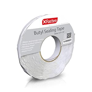 XFasten Butyl Seal Tape, White, 1/8-Inch x 3/4-Inch x 30-Foot, Leak Proof Putty Tape for RV Repair, Window, Boat Sealing, Glass and EDPM Rubber Roof Patching