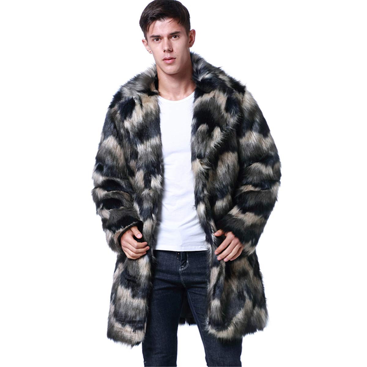 Leepus Men Faux Fur Long Coat Jacket Notched Collar Long Sleeves Contrast Color Furry Vintage Casual Overcoat Outwear Grey by Leepus