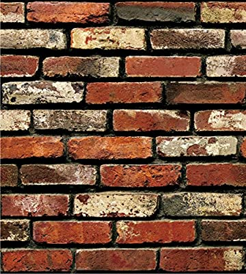 SOOMJ Brick Wallpaper,Rust,Waterproof Wallpaper Removable,no Residual,Easy to Put Up and Realistic Look Exposed Brick Wallpaper for Home Bar Wall Decoration,17.7 inches by 32.8 feet