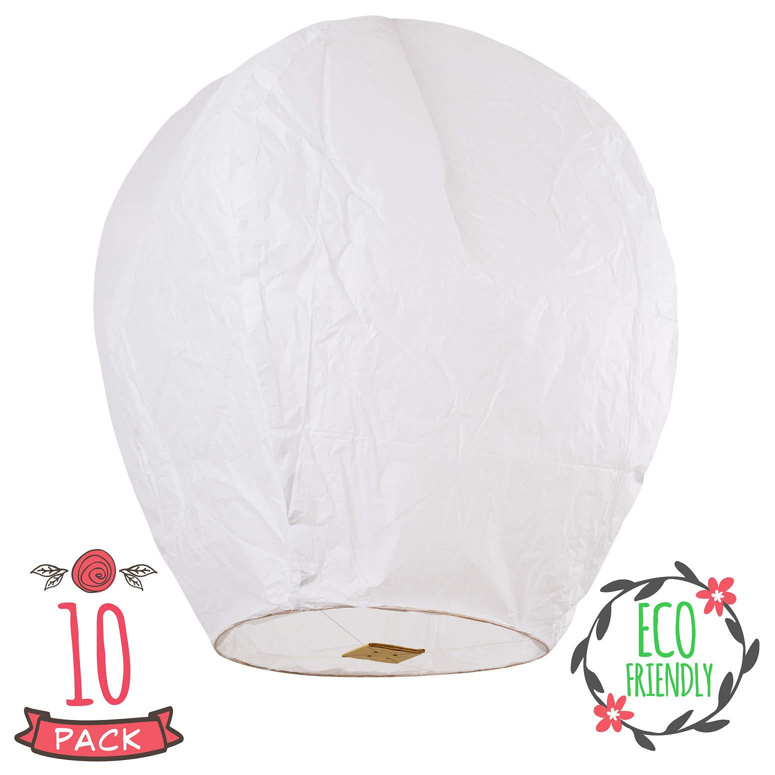 Chinese Lanterns 10-Pack White, Sky High, Fully Assembled, Biodegradable, Sky Lanterns by Coral entertainments for Birthdays, Ceremonies, Weddings. Safe to use and Flame Retardant Paper (White)