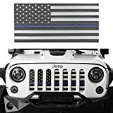 jeep wrangler blue grill inserts - Opar Front US American Flag Grille Mesh Insert for 2007-2018 Jeep Wrangler JK & Wrangler Unlimited ( Thin Blue Line )