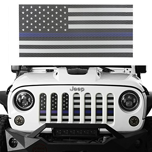 (Hooke Road Jeep Wrangler Grill Screen American Flag Grille Insert Bug Deflector for 2007-2018 Jeep Wrangler JK & Wrangler Unlimited (Thin Blue)