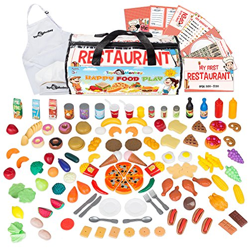 Play Food Set for Kids - Huge Educational 141 Piece Pretend Food Play Kitchen Set - 4 in 1 Pack Includes Plastic Toy Foods, Utensils, Chef Apron & Hat, Printables & Storage Bag. For Age (Chef Food)