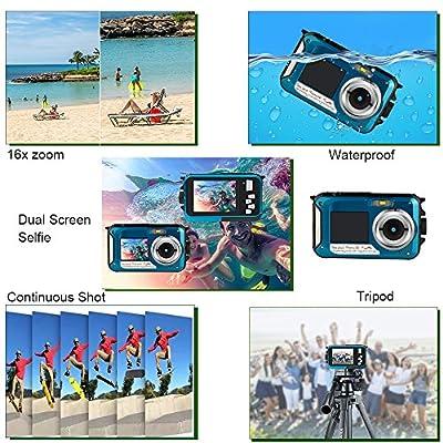 Waterproof Underwater Digital Video Cameras,Digital Cameras Waterproof Video Recorder Camcorder-Selfie Dual Screen