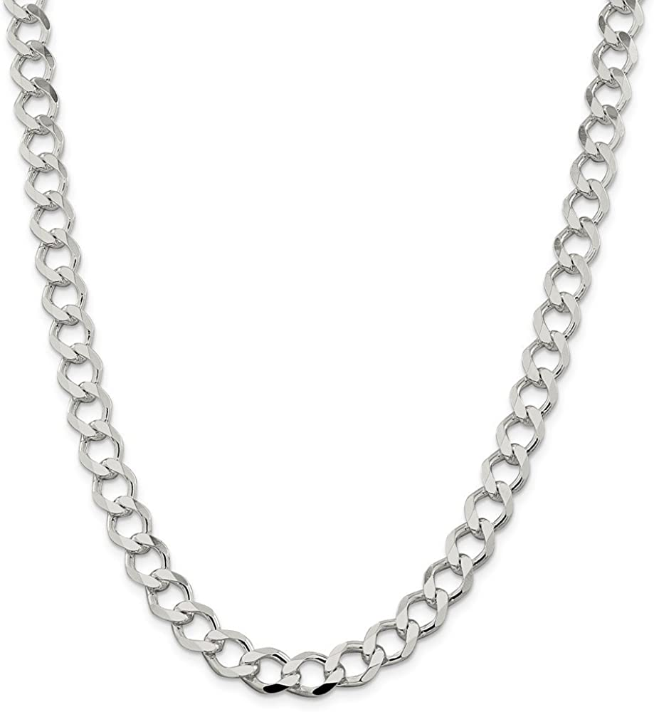 925 Sterling Silver 9.8mm Polished Flat Curb Chain 20 Inch