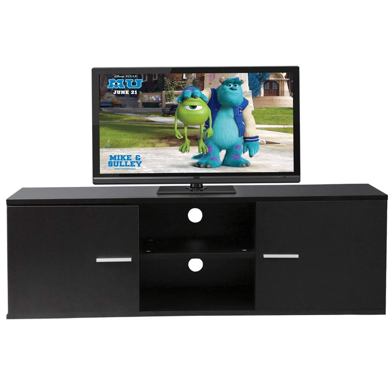Sofamania Modern TV Stand Wood Storage Console Entertainment Center w/ 2 Doors and Shelves Black Finish