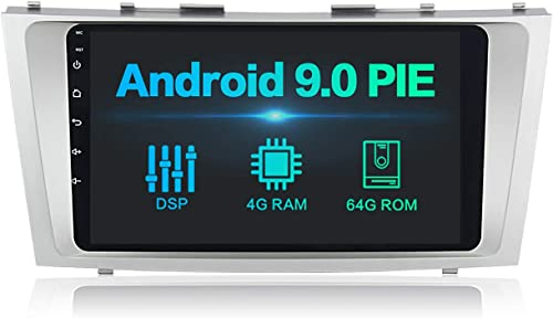 Dasaita 9 inch Screen Single Din Android 9.0 Car Stereo for Toyota Camry 2006 to 2011 Radio with GPS Navigation 4G Ram 64G ROM Built in DSP Dash Kit Meomery Card