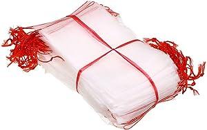 "Skelang Fruit Protection Bags, 8""×12"" Fruit Protector Bags, Plant Net Bags, Nylon Mesh Garden Netting Bags, Pack of 100"
