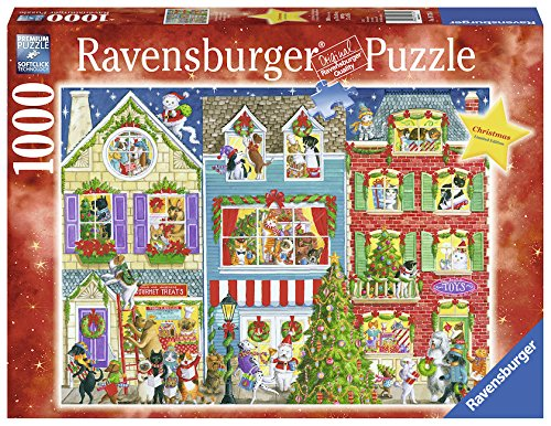 Ravensburger Christmas On Pet Street 1000 Piece Jigsaw Puzzle Adults – Every Piece is Unique, Softclick Technology Means Pieces Fit Together Perfectly