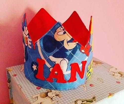 Corona Cumpleaños Tela Mickey Fondo Azul: Amazon.es: Handmade