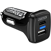 USB C Car Charger, CHOETECH Power Delivery & Quick Charge 3.0 36W Dual USB Car Charger Compatible with Galaxy Note 8/S8/S8 Plus, iPhone 8/8 Plus/iPhone X/Nintendo Switch, Pixel 2/Pixel XL, LG V30, G6/G5 and More
