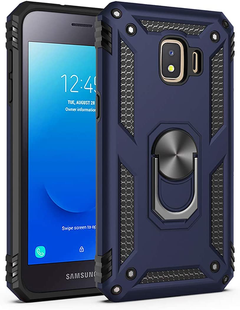 Meifei Samsung Galaxy J2 Core Case, Galaxy J2 2019/J2 Pure/J2 Dash/J2 Shine Case Military Grade 360 Degree Rotating Metal Ring Holder Kickstand Protective Phone Cover Case 2019 Released, Blue