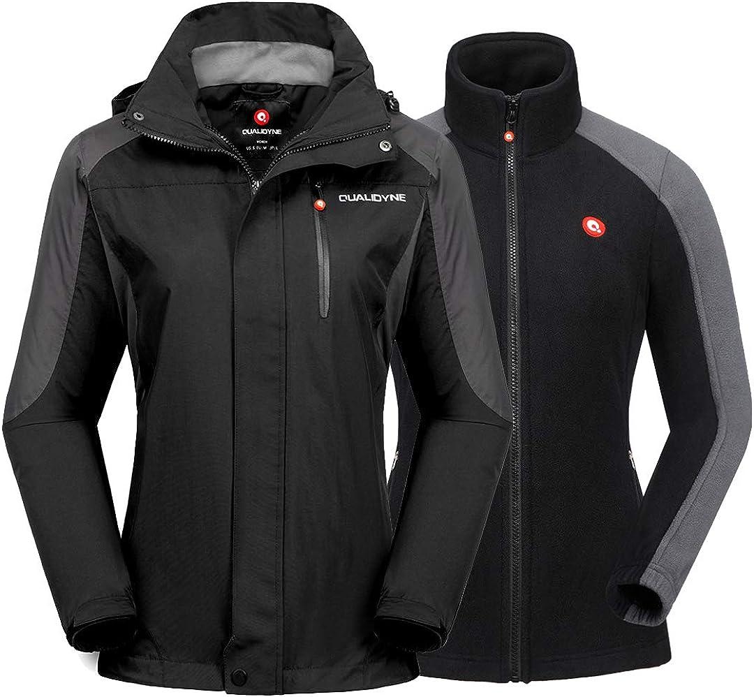 qualidyne Women's Ski Jacket 3 in 1 Windproof Waterproof Winter Jacket, Detachable Hooded Windbreaker for Hiking Snowboard