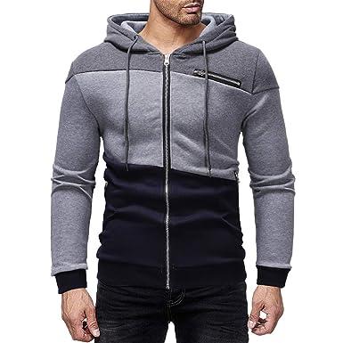 JYJM 2018 Weihnachten Men s Autumn Winter Color Patchwork Hooded Zipper  Pocket Sweatshirt Jacket Coat Herren stylischer 858fb3713a