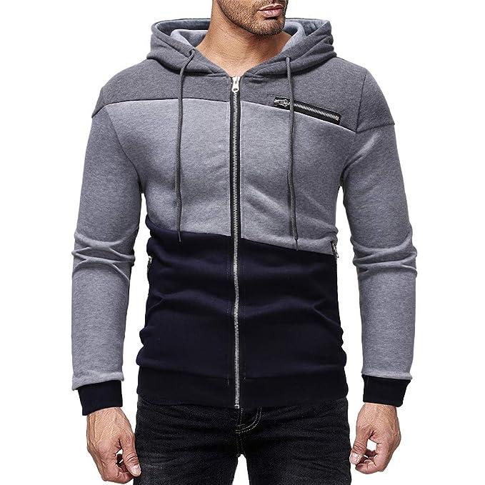 12f7a749c87c Zolimx Herren Hooded Zipper Pocket Sweatshirt Pullover Herbst Winter Farbe  Patchwork mit Kapuze Reißverschluss Tasche Kapuzenpulli