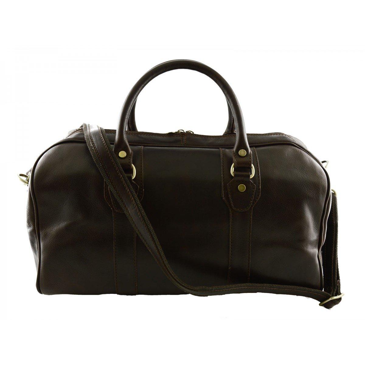 Made In Italy Genuine Leather Travel Bag Color Dark Brown - Travel Bag B01N7ZA45B