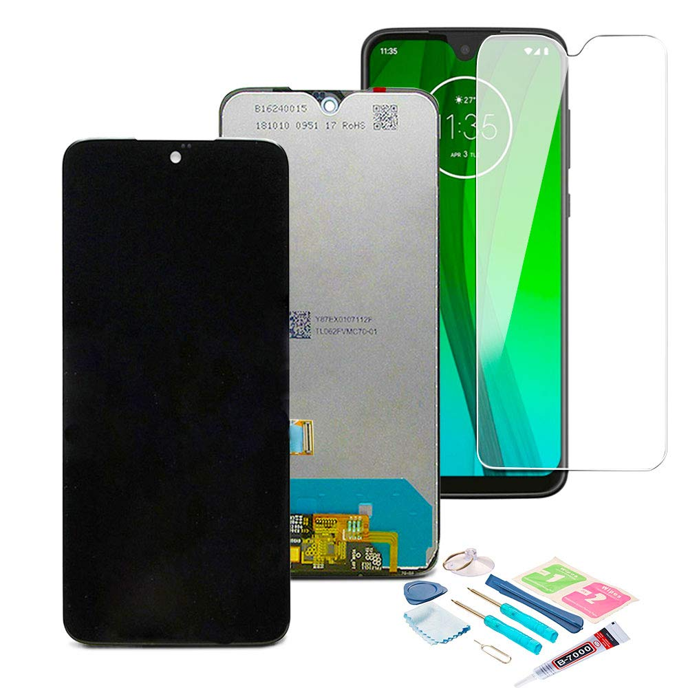 XR MARKET Compatible Moto G7 Screen Replacement, LCD Display Touch Digitizer Assembly Part for Motorola XT1962 XT1962-4 XT1962-5 6.2 Inch 153mm + Glue + Screen Protector(Black NO Frame) by XR MARKET