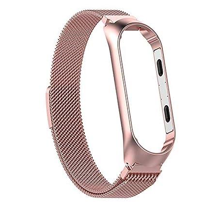 Kentop Correa de reloj de acero inoxidable para Xiaomi mi Band 3, pulsera de acero inoxidable metálico para Xiaomi Mi Band 3