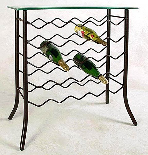 Glass Server Table w 25 Bottle Wine Rack (Gun Metal)
