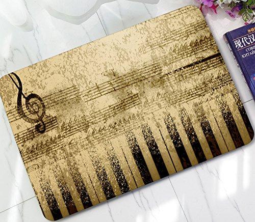 - ChezMax Non-slip Doormat Coral Fleece Indoor Outdoor Kitchen Floor Rug Front Door Mat Funny Flannel Carpet Piano Key 23.62