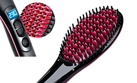 pelodecerámicacalefaccióneléctricaclassusmadurascerodañoseficazde pelo de cepillo para pelo largo de pelo corto con pantalla LCD de la Temperatura: ...