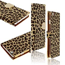 "HSL LEOPARD Print Design Iphone6 Plus Case(5.5"" screen) Wallet Flip Case PC leather Case With Id/Multi Card Slots & Cash Compartment Brown"