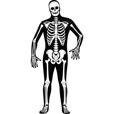 Amazon.com: Fun World Skelton Skin Suit, Black/White, One Size ...