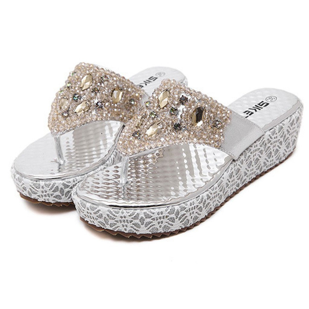 db40697efca05 Maybest Womens s Bohemia Rhinestone Beads Thong Sandals Casual Beach Shoes  Wedges Flip Flop (Silver 4 B (M) US)  Amazon.ca  Shoes   Handbags