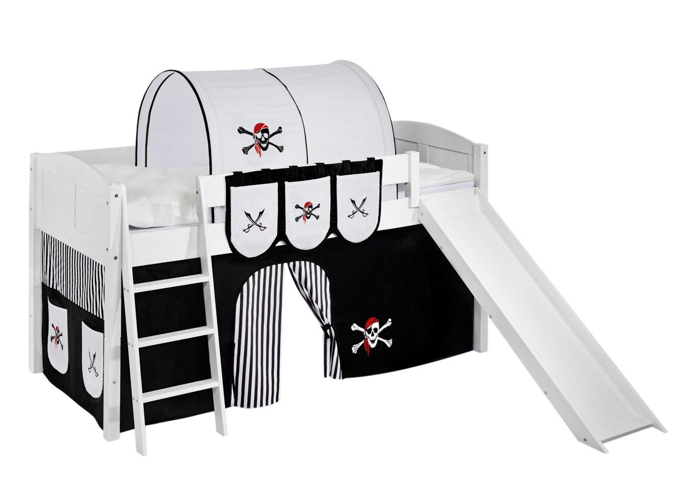 Lilokids IDA4106KWR-PIRAT-SCHWARZ-S Kinderbett, Holz, pirat schwarz, 208 x 220 x 113 cm