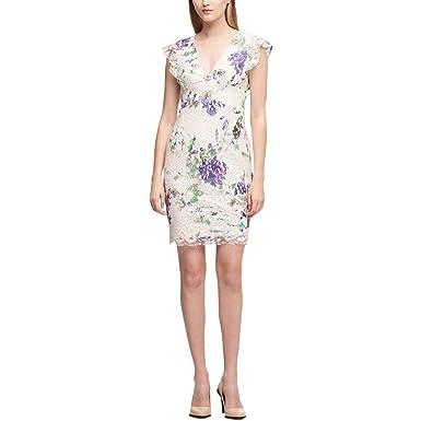 34cf56ad18b DKNY Womens Lace V-Neck Party Dress Ivory 14 at Amazon Women s ...