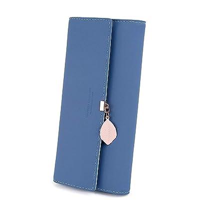Monederos Mujer Cartera de Mujer de Gran Capacidad de Cuero PU de Mujer Bolsos Largo de Mujer con Cremallera de Bolsillo Carteras para Dama (Azul)